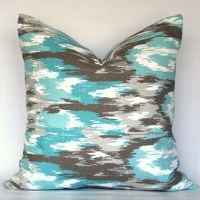 Ikat blue turquoise brown gray aqua teal 1