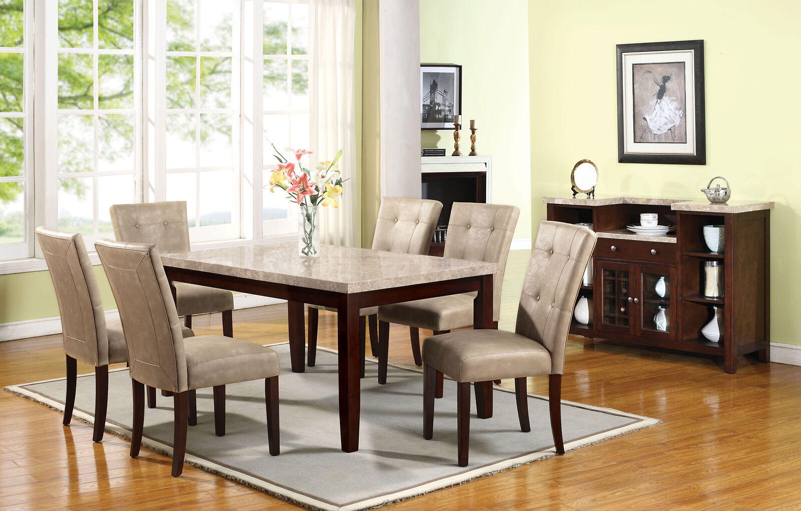 Marble Top Dining Table Set 13