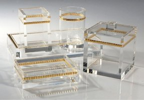 Name mike ally ice with gold lucite clear bathroom sets