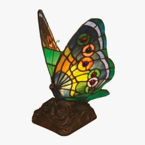 "Tiffany Butterfly 10"" H Table Lamp with 135 Glass Pieces"