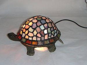 Tiffany Style Stained Glass Tortoise Turtle Lamp Lighting Art Deco Nouveau