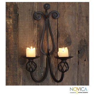 Wrought iron wall candle holders 17