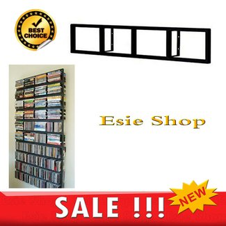 2 black lerberg cd dvd rack shelf wall mount metal