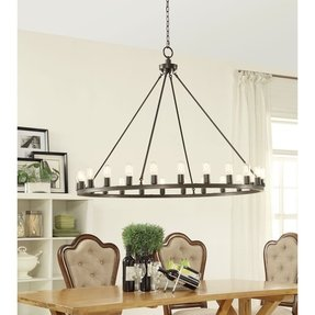 24 Light Hanging Oil Rubbed Bronze Western Style Chandelier with Wagon Wheel Design, Large, 48 Inch Diameter