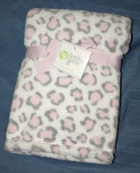 Baby girls pink grey white leopard cheetah print minky plush