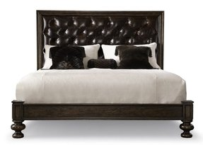Black leather upholstered headboard