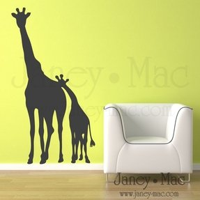 Childrens giraffe wall decal mom and baby kids bedroom nursery