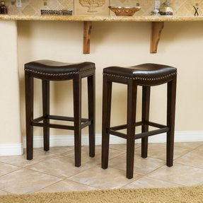 Christopher knight home avondale brown bonded leather backless barstool set