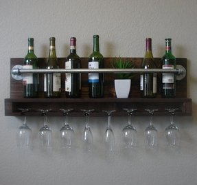 Industrial rustic modern 10 bottle wall