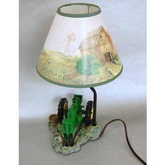 John deere table lamp with tractor and farm scene lamp
