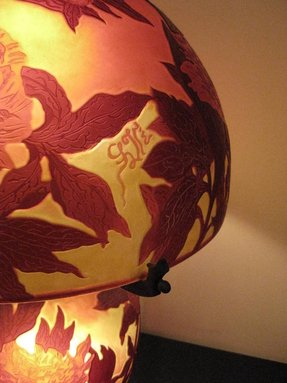 Large french triple overlaid cameo art glass table lamp after