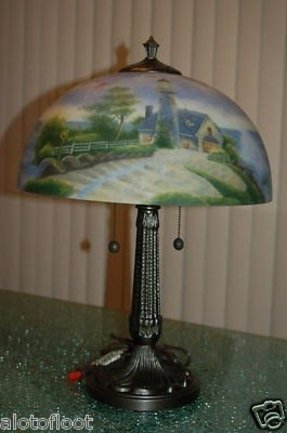 Ltd edition 2003 thomas kinkade reverse painted lamp a light