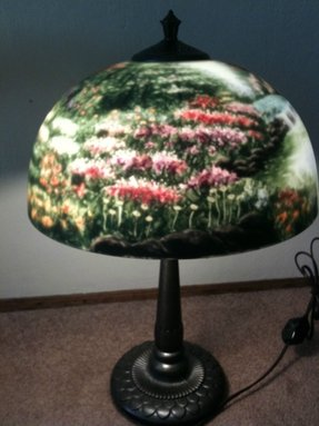 Thomas kinkade painting reverse painted glass lamp nwot