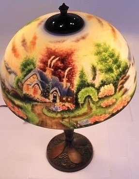 Thomas kinkade reverse painted lamp new day dawning with cottage