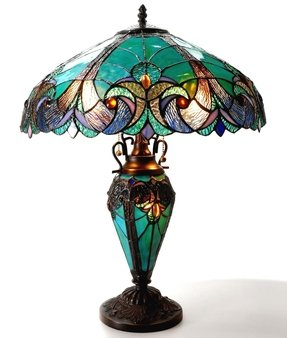 Tiffany style table lamp with night light vintage stained glass