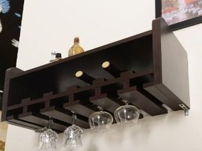 Wall mounted wine rack and glass holder 10