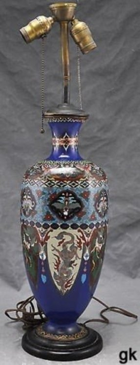 Antique japanese cloisonne vase lamp dragon bird floral designs