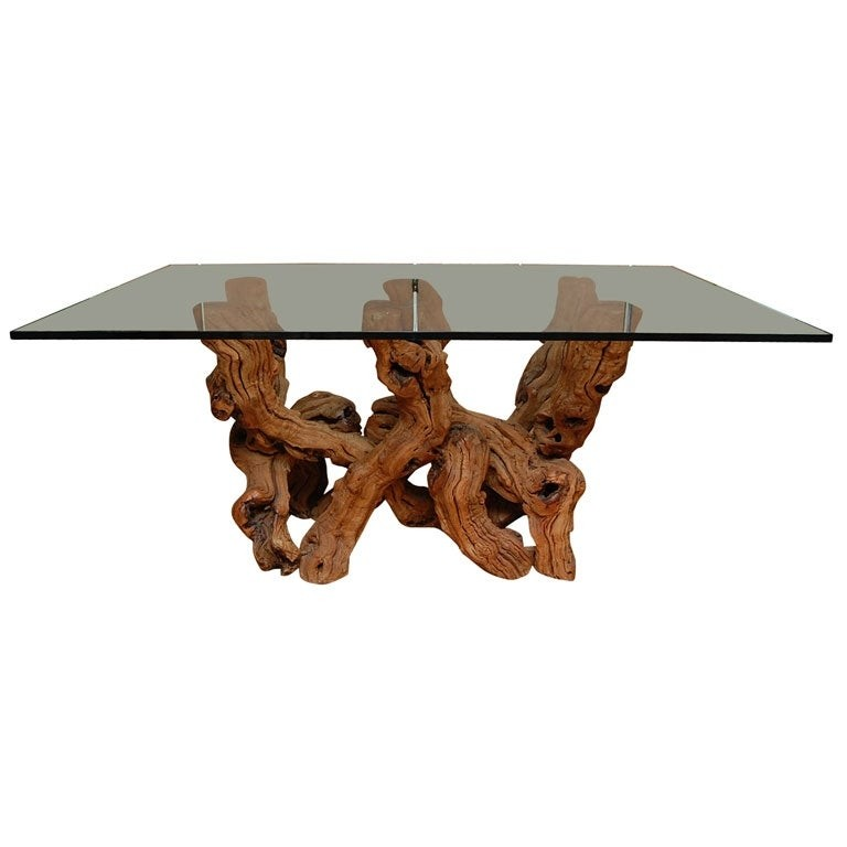Conceptual cypress wood dining table base w glass top
