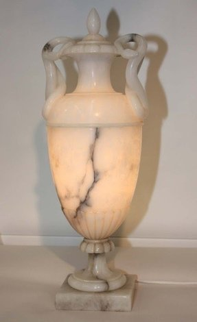 Covered alabaster urn as lamp 2