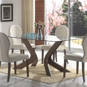 Wood Base Glass Top Dining Table - Foter
