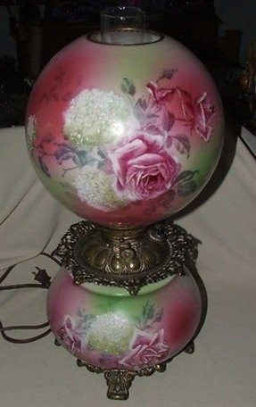 Large victorian kerosene gwtw gone with the wind lamp w