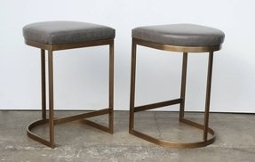 Milo baughman burnished brass bar stools grey leather 1