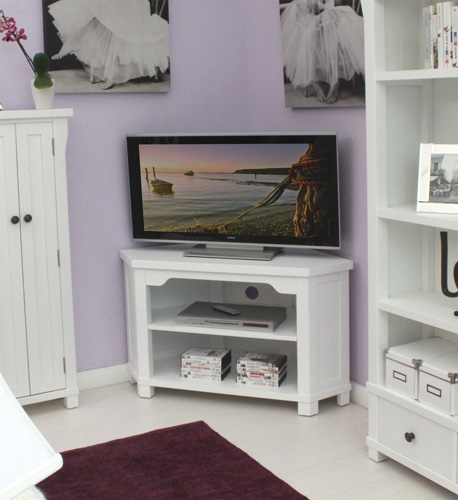 New England White Painted Corner Tv Cabinet