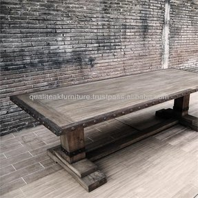 Rustic trestle dining table 2