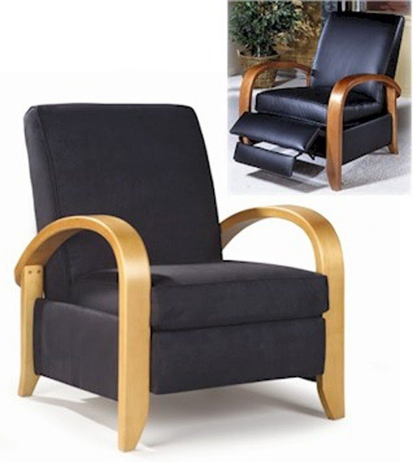 Steamer reclining chair by sam moore bent wood arm art