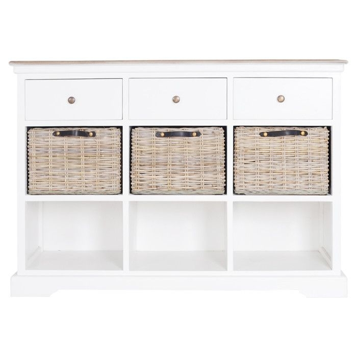 This crisp white sideboard offers versatile style for your dining