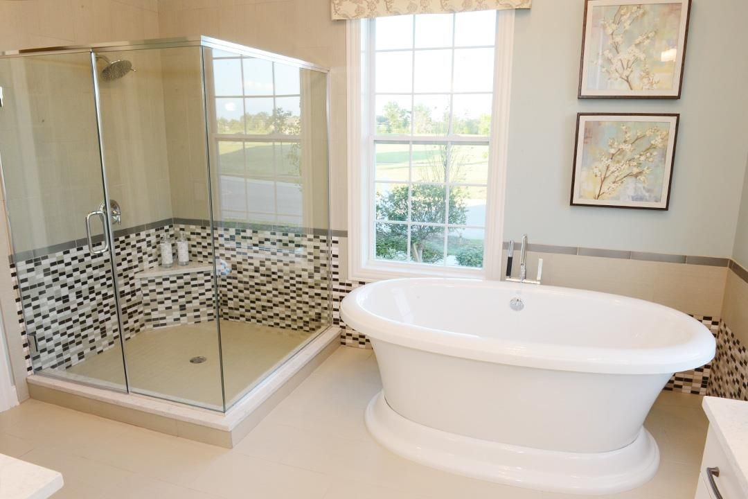 Time To Relax Corner Glass Shower A Freestanding Tub Are