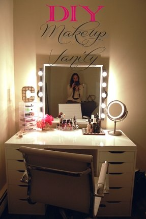 Vanity mirror and desk