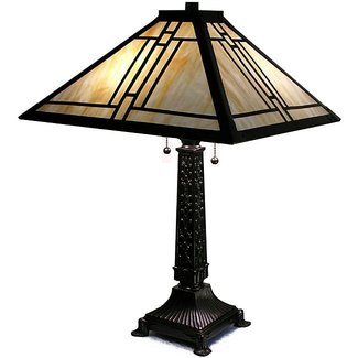 Warehouse of tiffany style mission gold streak table lamp