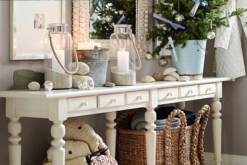 White Console Table With Baskets Foter