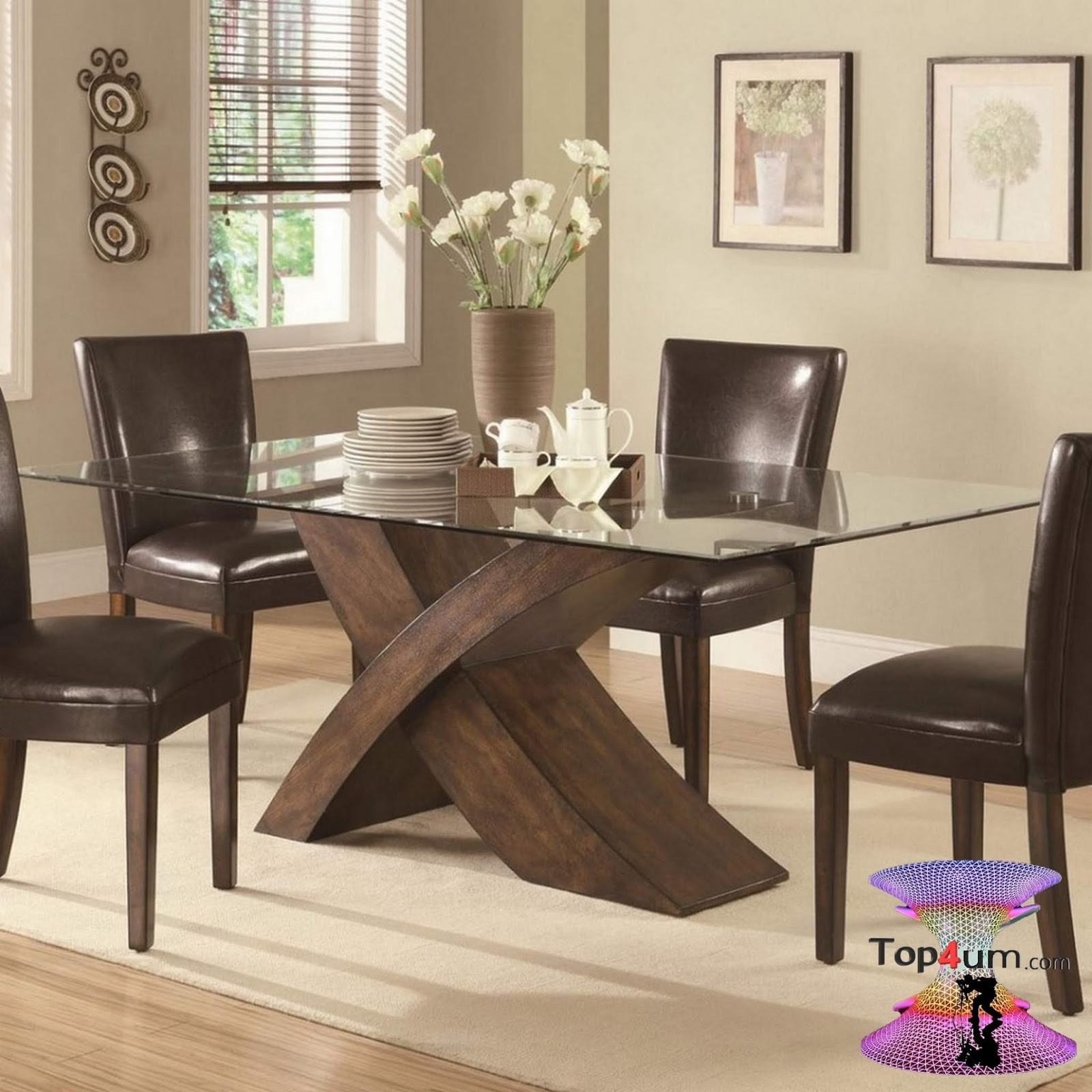 Beau Wood Base Glass Top Dining Table   Ideas On Foter