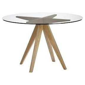 Wood base glass top dining table 2