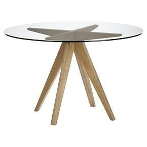 Genial Wood Base Glass Top Dining Table 2