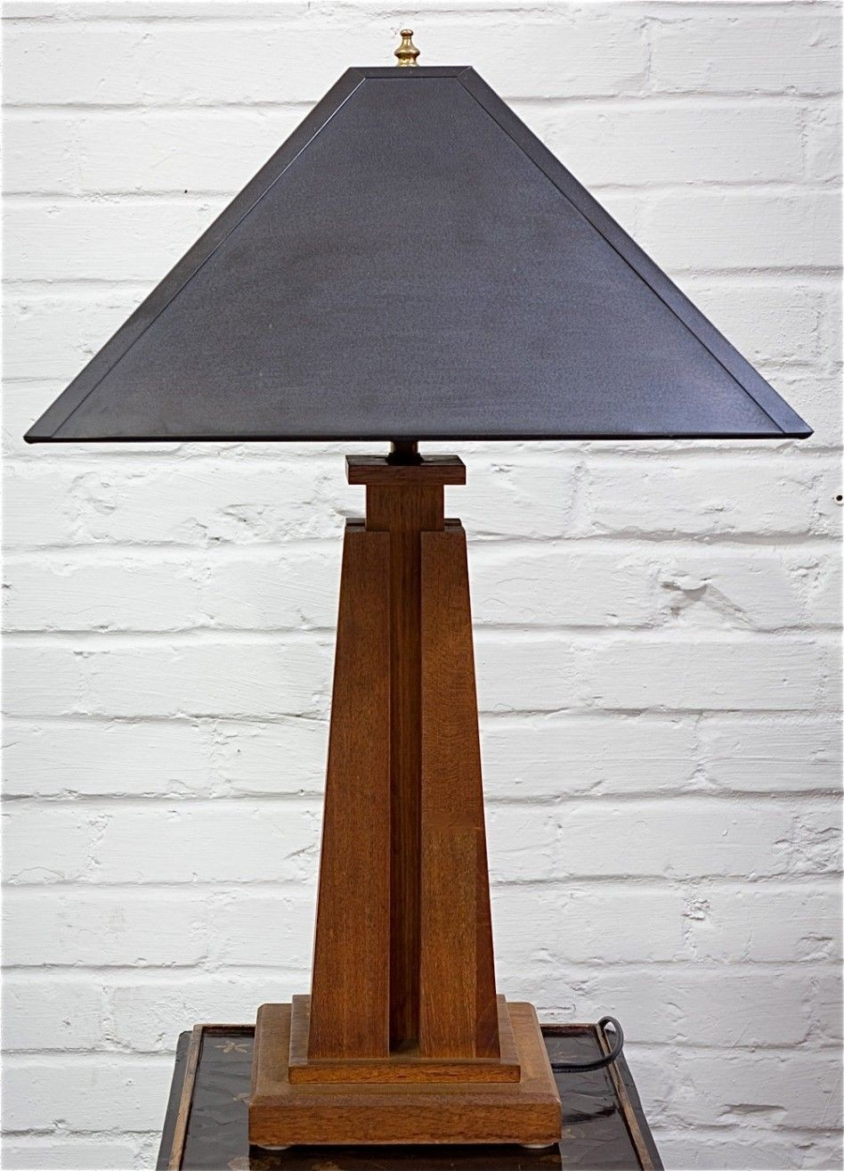 Wood mission style table lamp