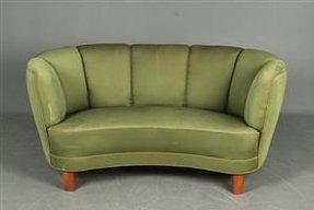 Curved sofas and loveseats small danish 2 pers curved sofa