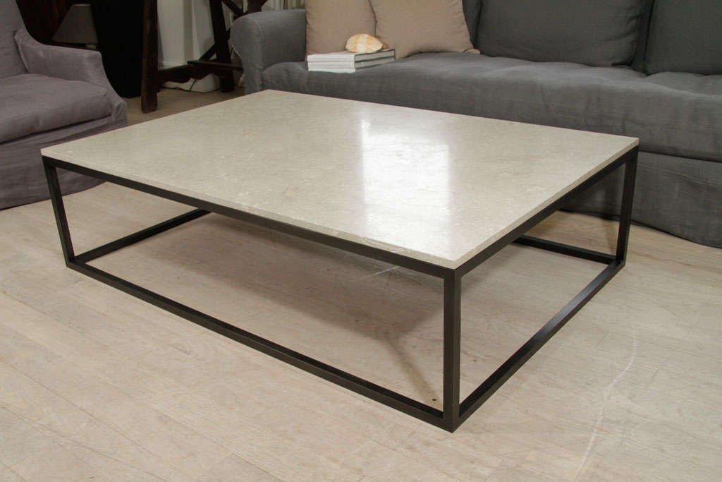 Seagrass Stone Top Coffee Table On Blackened Metal Base
