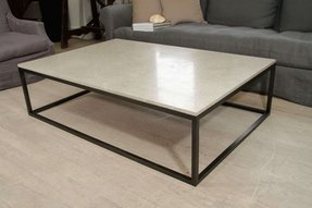 Seagrass stone top coffee table on blackened metal base 1