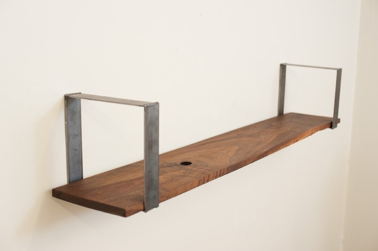 Simple Wall Mount Shelf Solid Walnut And