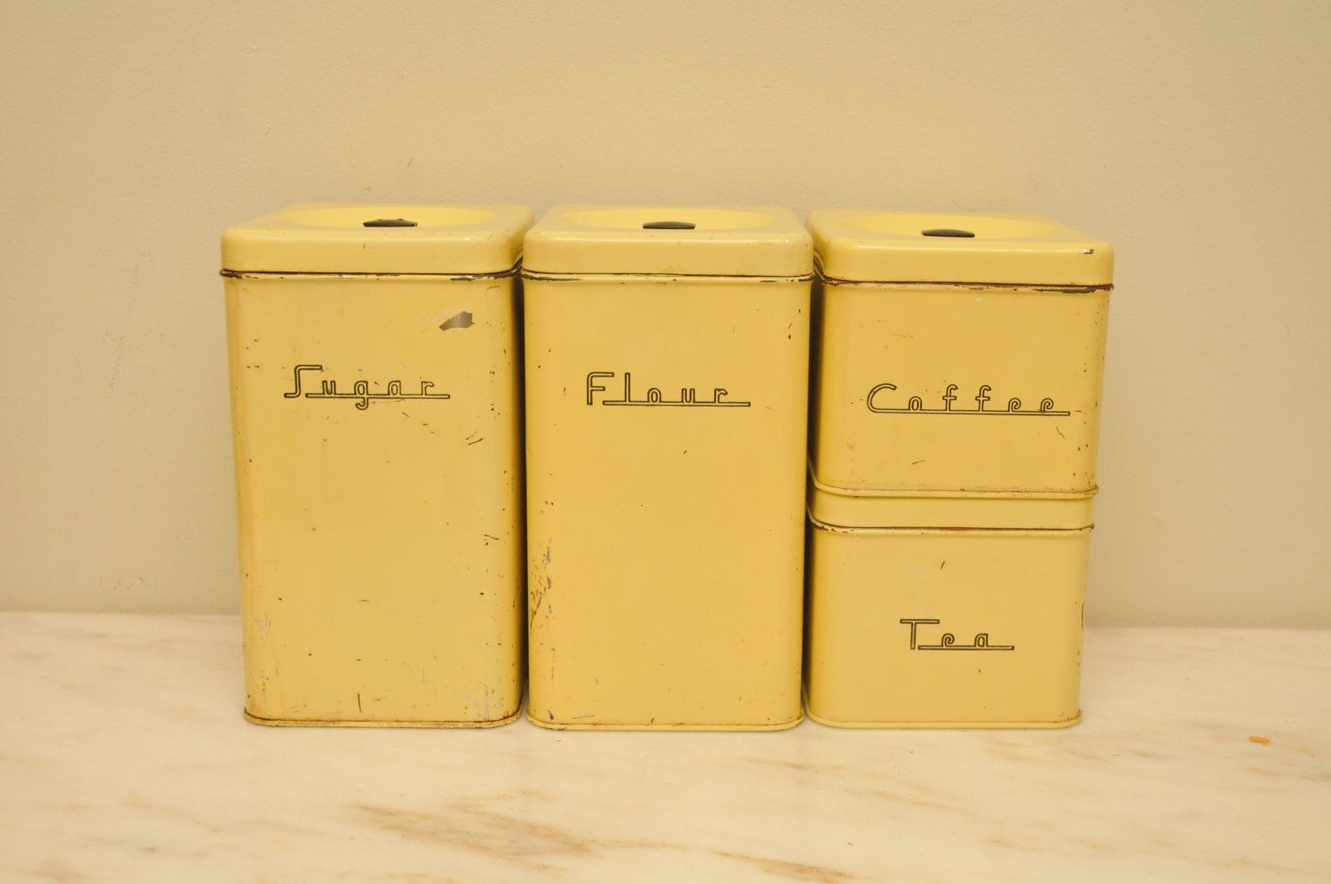Vintage 1950s yellow kitchen canister