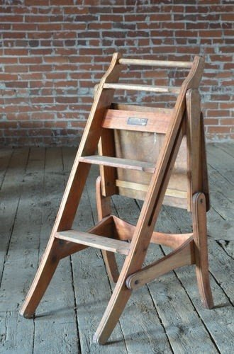 Gentil Vintage Industrial Antique Wood Step Stool Chair Combo For Work