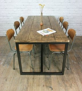 industrial dining table. Vintage Industrial Steel Rustic Factory Loft Farm Dining Table