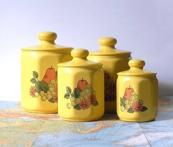 Vintage Kromex Yellow Kitchen Canister Set Of Four By Alivingspace