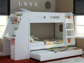 White trundle bed with storage 10