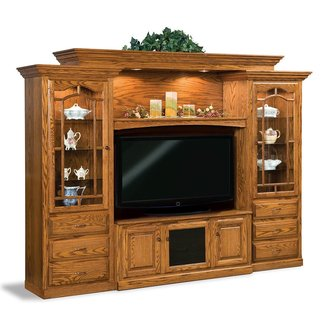 Amish tv entertainment center solid oak wood media wall unit