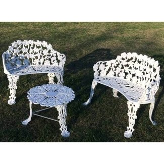 Antique Vintage 3 Pc Cast Iron Garden Patio Furniture 2