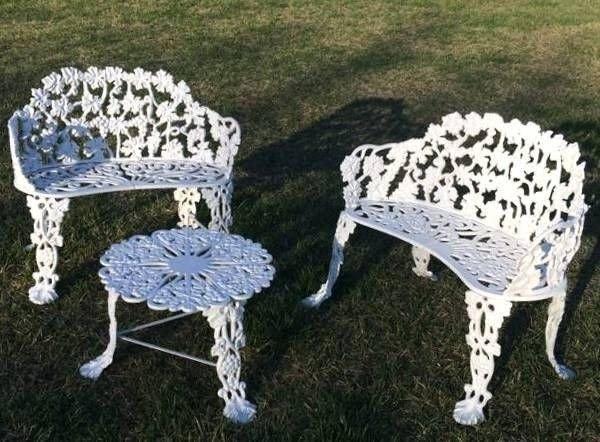 Merveilleux Antique Vintage 3 Pc Cast Iron Garden Patio Furniture 2
